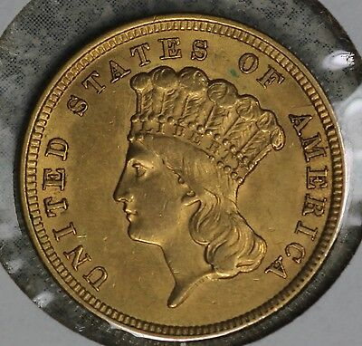 Nice 1854 Indian Princess Gold $3 - AU Details - Reverse Scratch