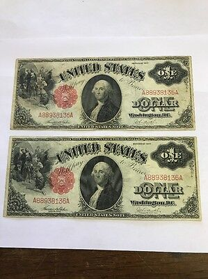 Two 1917 $1 Legal Tender Note Banknote Consecutive Pair Serial Numbers