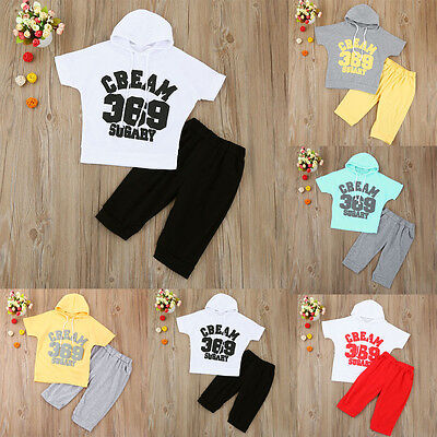 2PCS Toddler Kids Baby Boy Girl Hooded Tops Shirt+Pants Tracksuit Outfit Clothes