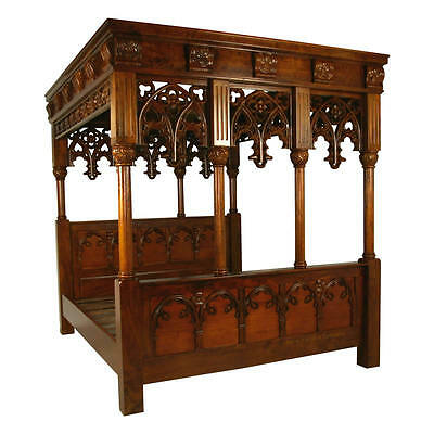 English Gothic Four Poster Bed - Super King - Mahogany