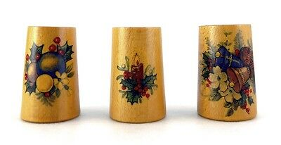 Thimble - Collection Of 3 Vintage Wooden Christmas Theme Thimbles