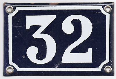 Old blue French house number 32 door gate plate plaque enamel metal plate sign