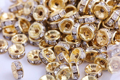 100 Pcs 8mm Gold Plated Crystal Rondelle Spacer Beads Charms Jewelry Findings