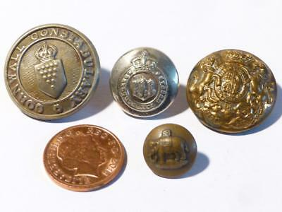 4 Antique Northumberland Hussars Cornwall Constabulary Elephant Buttons #B4