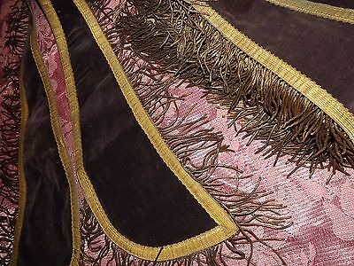 Antique Gold Metallic Bullion Fringe & Trim & Velvet Ceremony Sash for Salvage