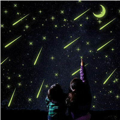 A Set In The Dark Luminous Fluorescent Wall Stickers Kids Bedroom 3D Star Glow C