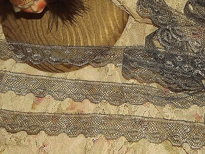 """3 Yards Early 1900's Antique Silver Metallic Scalloped Lace Edging Trim 1"""" w"""