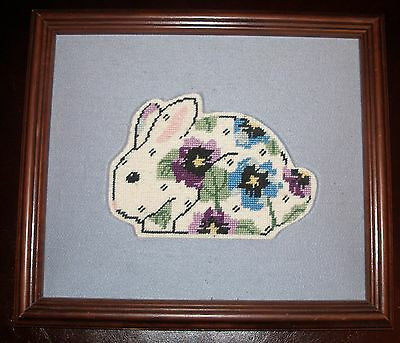 Vintage Baby Bunny Rabbit Folk Art Needlepoint Floral Design Silk Matt