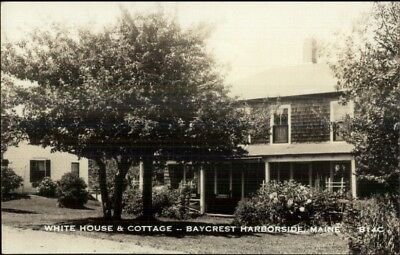 Baycrest Harborside ME White House & Cottage c1940s Real Photo Postcard