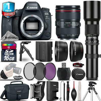 Canon EOS 6D Mark II + 24-105mm USM + 500mm + EXT BAT + 1yr Warranty - 16GB Kit