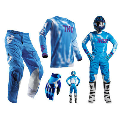 Thor Pulse Air Radiate Combo blau Crosshose Motocross Shirt MX Handschuhe