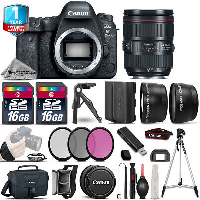 Canon EOS 6D Mark II DSLR Camera + 24-105mm USM IS II + 1yr Warranty - 64GB Kit
