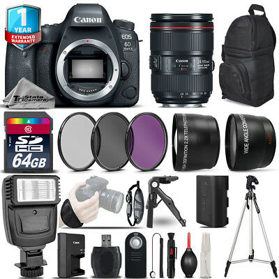 Canon EOS 6D Mark II DSLR Camera + 24-105mm USM + 1yr Warranty -Ultimate Bundle