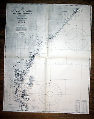 1940 East coast of Africa Juba River to Zanzibar sea chart map Karte Afrika