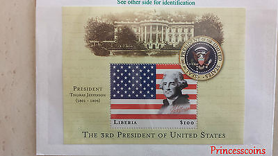 Us17A Liberia $100 Thomas Jefferson Us 3Rd President Mint Stamp Sheet