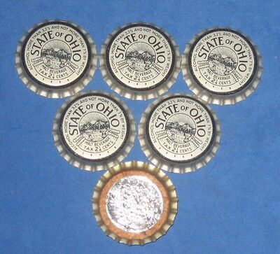 (6) Unused NOS State of Ohio Tax Paid Ohio Malt Beverage Cork Beer Btl Caps
