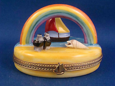 Seaside View - Sailboat - Rainbow - Binoculars - Seashell - FRENCH LIMOGES box