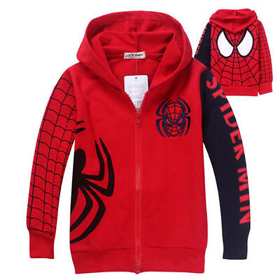 Kids Boys Spiderman Zipper Hoodies Outerwears Tops Jackets Size 1-9 Years Casual