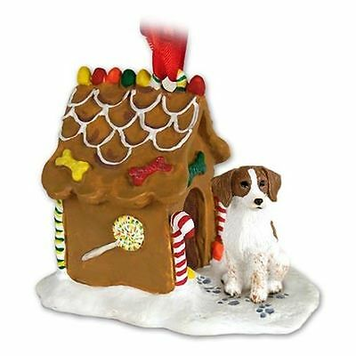 BRITTANY Brown and White Dog Ginger Bread House Christmas ORNAMENT