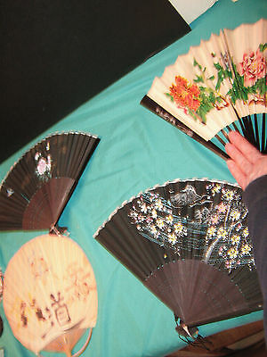 Set of Four 1960's Japanese Bamboo Fans Three Of Them Are In Very Good Condition