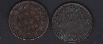 CANADA, 1888 and 1904 copper one cent coins Queen Vict & King Edward vth