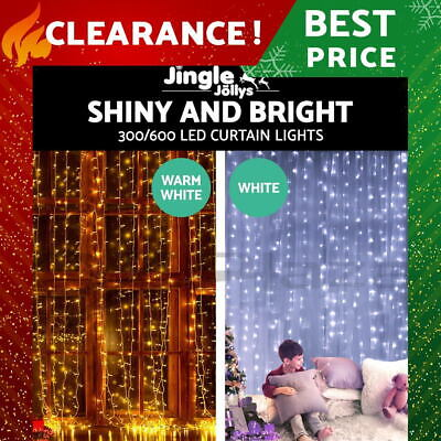 300/ 600 LED Curtain String Light Christmas Party Wedding Outdoor Fairy Lighting