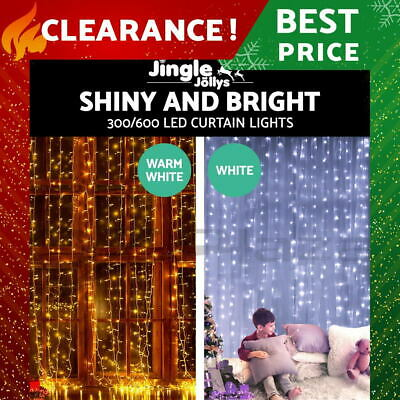 Jingle Jollys 3M 6M LED Curtain String Light Christmas Party Wedding Garden Home