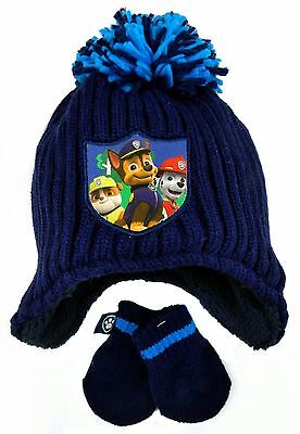 Toddler Boys Paw Patrol Peruvian Hat And Mitts Set  Ages 6-24M , 2-4Y and 4-6Y