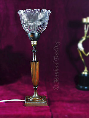 Superb Edwardian cast Bronze classic design table lamp original holophane shade