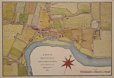 A Plan of Twickenham in the County of Middlesex 1784 ~ Samuel Lewis antique map