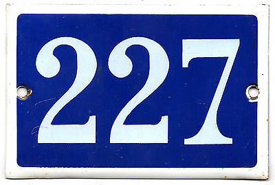 Old blue French house number 227 door gate plate plaque enamel steel metal sign