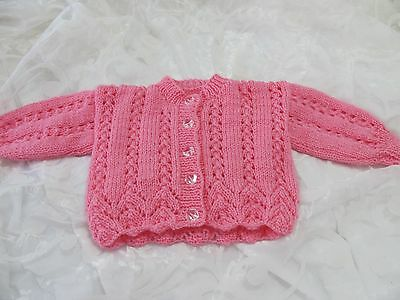 Hand Knitted Baby Cardigan  Rose Pink Lacy 6-12 Months New