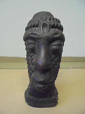 Vintage? Barbados Wooden Carved Tribal Cobra-Wrapped Head / Idol