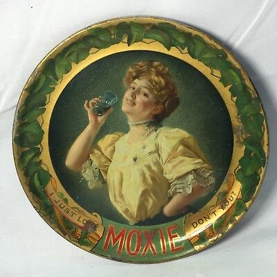 Antique Moxie TIP TRAY Soda Old and Authentic Tin Litho Plate RARE