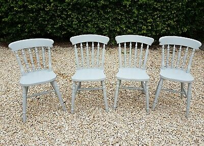 X4 Hand Painted  Solid Heavy Oak Farmhouse Dining Chairs  Lamp Room Gray F&b