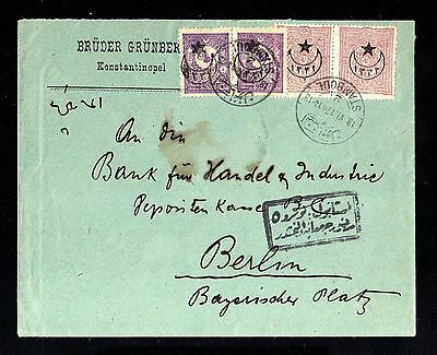 16763-TURKEY-OTTOMAN BANK COVER ISTANBUL to BERLIN (germany) 1917.WWI.Turquie.