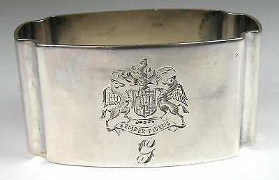 """Robert F Mosely - 1943 Sterling Silver Napkin Ring from England """"Semper Fidelis"""""""