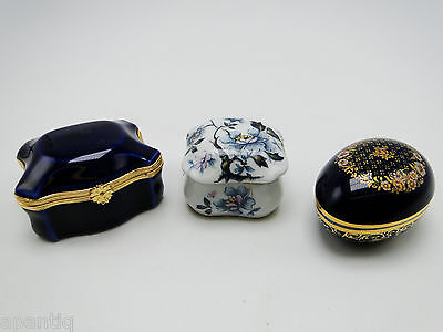 3 Limoges France Trinket Ring Pill Boxes MNP Castel