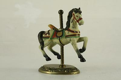 """Modern CAROUSEL Horse Figurine Brass & Porcelain 4.5"""" Tall Colorful Hand Painted"""