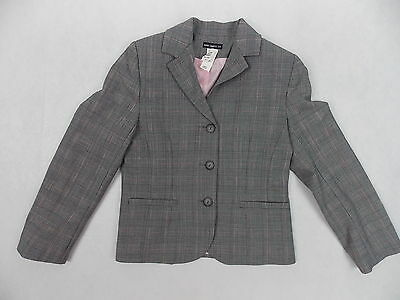David Charles Suit Jacket Made in England Size 9 Years Gray Plaid w/ Pink #2296