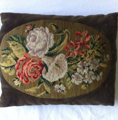 VINTAGE  Gorgeous  Completed CUSHION COVER Floral French Boho Tapestry