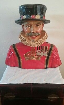 Super Rare Beefeater Gin Guy Paper Mache Bust 1950's Ny Bar