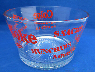"""Coke Coca-Cola Glass Bowl Candy Munchies Popcorn Snacks Ice Heavy 7"""" Excellent"""