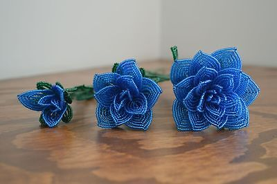 NEW 3 handmade French beaded Flowers bright blue rose roses