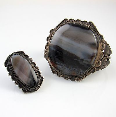 Old Pawn Navajo Sterling & Petrified Wood Cuff Bracelet & Matching Ring   RS