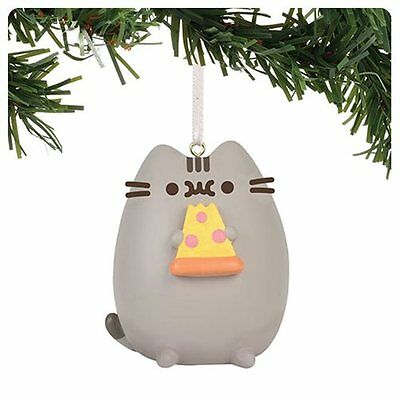 PUSHEEN cat eating ~ I Love PIZZA Christmas tree ORNAMENT ~ Enesco Department 56