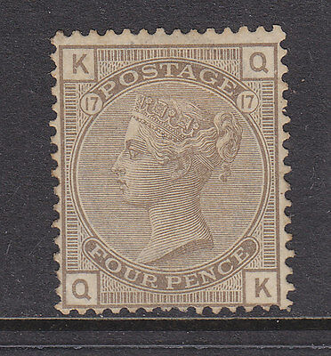 Great Britain 1880 4D Gray Brown, Fine Mint. Plate 17 Rare In Mint Condition.