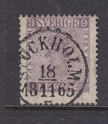 Sweden 1859, 9 Ore Very Fine Used. No Faults.