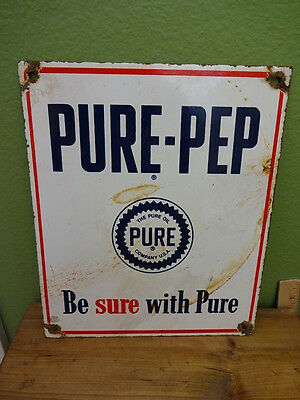 Original & Rare Vintage Porcelain Pure Pep Oil Pure Oil Company Sign