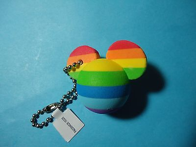 Disney Parks (Gay) Rainbow Mickey Head (Antenna Topper Style) Foam Keychain  NEW